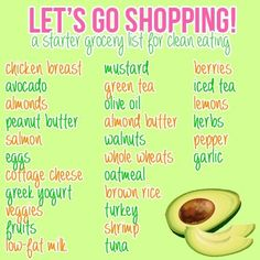 Grocery list for clean eating