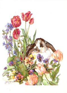 Jodi Jensen (Just pretty) Art Watercolor, Watercolor Animals, Watercolor Flowers, Robert Duncan, Rabbit Art, Bunny Rabbit, Bunny Art, Animal Paintings, Illustrations Posters