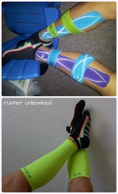 How to care and prevent shin splints. Using KT tape or leg compresses. R.I.C.E care