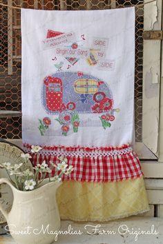 "Flour Sack Kitchen Towel...  Garden Cottage Farmhouse Ruffle ""Vintage Trailer""- Spring Flowers -Canned Ham - Travel - Camping"