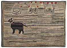 Hooked Rug ... Dog ... Early 20th Century