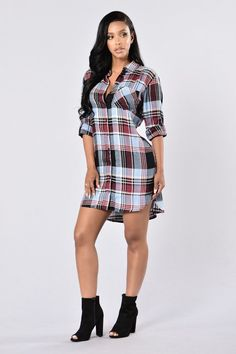 Available in Blue/Wine Button Detail Shirt Dress Cuffed Sleeves Rayon Weekend Dresses, Stretch Denim, Blue Dresses, Fashion Dresses, Women's Fashion, Cute Outfits, Casual Outfits, Skinny Jeans, Shirt Dress