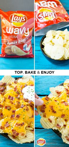 This quick and easy recipe hack will combine the irresistible combination of all your favorite baked potato flavors. In only a few minutes you'll have a big plate of these LAY'S Potato Chip Irish Nachos to share with a crowd—simply layer crunchy potato chips with melted cheddar, bacon crumbles, chives, and a dollop of sour cream. They're so delicious!