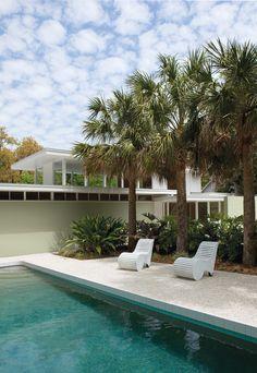 retro modern poolside