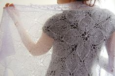 Lilaceous shawl: Knitty Winter 2012  pattern for a beautiful knitted shawl, so lacy and light, wonderful