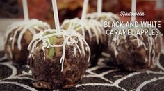 Black and White Caramel Apples