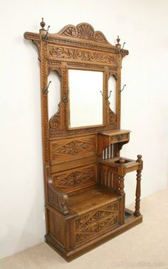 Victorian Carved Oak Hall Stand/Hall Bench - Antiques Atlas