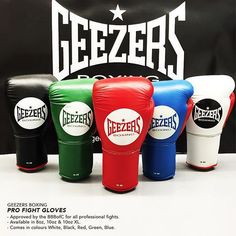 GEEZERS PRO FIGHT GLOVES!!  Which colour would you choose? Approved by the BBBofC for all professional fights! Follow the link:  http://www.geezersboxing.co.uk/boxing-gloves/professional-fight-gloves?manufacturer=160  #geezers #geezersboxing #pro #professional #fight #boxing #glove #boxingglove #profight #BBBofC