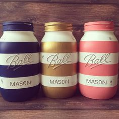 Set of 3 Quart size (32oz) Painted and distressed Mason jars. Painted, Striped Navy Blue. Striped Gold. Striped Coral by AJsLittleShop on Etsy