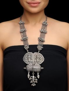 Buy Silver Tribal Necklace Jewelry Necklaces/Pendants Folk Flourish Intricate with designs Online at Jaypore.com
