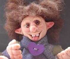 OOAK,Frecher Kobold,handgefertigt aus Polymer Clay,Troll,märchenhafte ,Fantasie…