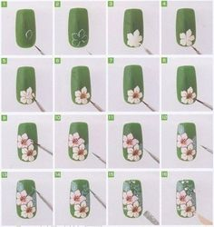 Fun orchid flower nail art tutorial! #green