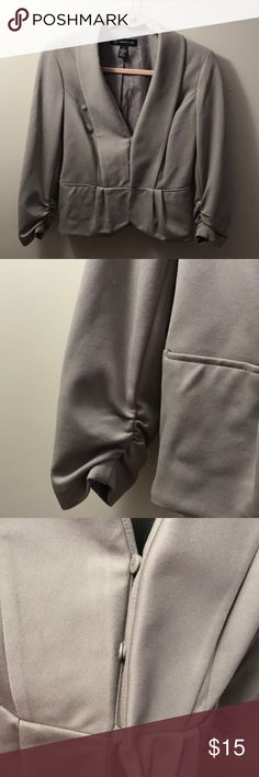 INC grey blazer with ruched sleeves Grey work blazer with ruched sleeve detail and front button close. Very soft material. INC International Concepts Jackets & Coats Blazers