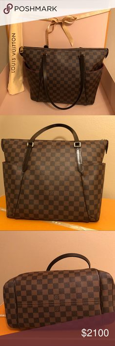 "NEW Louis Vuitton MM Damier Ebene W/box & dustbag PRICE FIRM, NO TRADES❗️NWOT beautiful Louis Vuitton Totally MM in Damier Ebene. Discontinued & extremely rare to find in NEW condition. Measures MM (18""L x 6""W x 12""H). This has been kept in its dust bag and box & I've decided to part with it to purchase another bag. Three inside pockets and two outer pockets. Date code is SD0194. Because of Posh fees, my price is FIRM. Thank you. Certified authentic + Posh authenticated for free. Louis…"