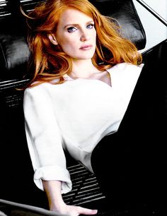 Liz (Jessica Chastain) Elizabeth Darnell. A hot redhead who looked more like one of those fashion models he dated, no one looking at her would think she was a sports agent with the killer instinct of a hungry shark. (The Perfect Play, Jaci Burton)