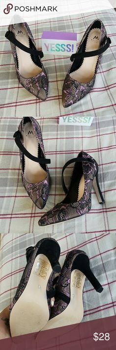 """Madison Lace Pumps Beautiful purple, black and cream lace pumps from Madison by Shoedazzle. Velvety strap that goes across the foot.  New without the box.  Size 8, in my opinion they run a little small.  3.75"""" heel height. ShoeDazzle Shoes Heels"""