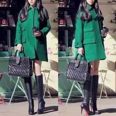 1piece Free shipping green cashmere woolen outerwear raglan sleeve woolen overcoat pocket 9516-inWool & Blends from Apparel & Accessories on...