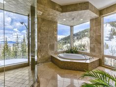 Views of the mountain from both the tub and shower? Check.