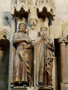 Statues representing the Margrave Ekkehard II of Meissen and his wife, Uta von Ballenstedt at the Cathedral of Naumburg, in the west choir.