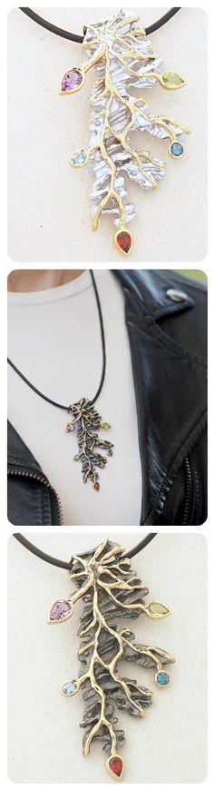Juvite Pendant Necklace  ||  Sterling Silver ||  Natural gemstones: Garnet, Topaz, Amethyst, Peridot  ||
