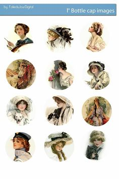 Free Bottle Cap Images: Harrison Fisher romantic ladies free bottle cap images scrapbooking supplies