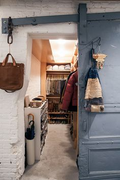 like this more rustic, relaxed walk in storage space. FleaingFrance Brocante Society walk in closet