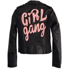 GIRL GANG MOTO JACKET ($165) ❤ liked on Polyvore featuring outerwear, jackets, tops, vegan biker jacket, zip jacket, faux leather motorcycle jacket, vegan leather motorcycle jacket and motorcycle jackets