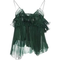 Rochas Top (6.751.980 IDR) ❤ liked on Polyvore featuring tops, emerald green, lace up front top, green lace up top, lace-up tops, ruched sleeveless top and chiffon tops