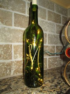 Lighted Initial Wine Bottle Centerpiece Wedding Shower Decor  Personalized Custom Gift