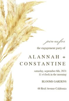 Pampas Grass - Engagement Party Invitation #invitations #printable #diy #template #Engagement #party #wedding Free Wedding Invitations, Anniversary Invitations, Engagement Party Invitations, Pampas Grass, Free Printables, Cocktail Party Invitation, Text Messages, Cocktails, Island