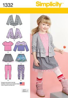 Simplicity Creative Group - Child's Skirt, Knit Leggings, Top and Cardigan