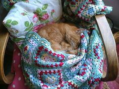 """pink and aqua: """"crochet/kitty love"""" by prettyshabby on flickr"""