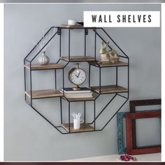 Whatever it is that you want to keep and use occasionally, this wall shelves with a hook will help you keep your home looking spruced up. Wooden Wall Shelves, Wall Shelf Decor, Wall Mounted Shelves, Wooden Walls, Metal Walls, Cube Design, Wall Design, Floor Shelf, Iron Shelf