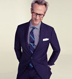 Navy blue: suit, gingham shirt & tie with a dash of electric blue.