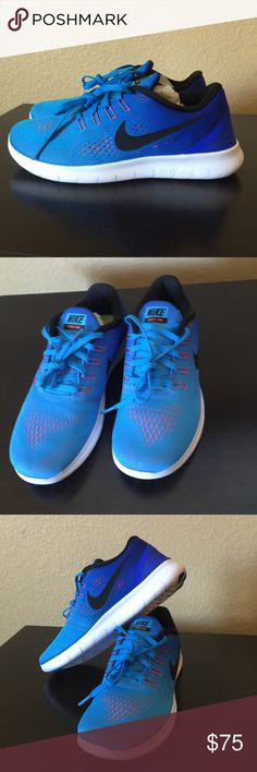 """Nike Women's """"Free RN"""" running shoe! Size 7.5! This is a pair of women's Nike """"Free RN"""" size 7.5. The color is Glow/Black/Crimson... super cute blue color! Running shoe features super-lightweight construction with a low-profile midsole for a fluid, sock-like fit. It provides the foot-strengthening benefits of barefoot running with the comfort and protection of a traditional shoe, and the updated Flywire technology delivers the most supportive fit of the Nike Free family! These are very…"""