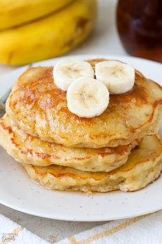 Moist, light, and fluffy Banana Pancakes sweetened with brown sugar and flavored with vanilla. The best Banana Pancakes EVER! Waffle Recipes, Brunch Recipes, Dinner Recipes, Griddle Recipes, Sweets Recipes, Breakfast Dishes, Breakfast Recipes, Breakfast Ideas, Breakfast Casserole