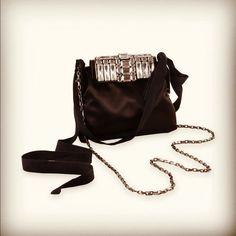 Satin #clutch bag with embroidered transparent stones..  #AlbertaFerretti SS12 #fashion