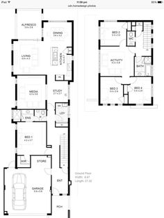 Narrow plans with 4 bedrooms