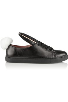 Sole measures approximately 1 inch Black leather, baby-pink patent-leather Lace-up front Leather Sneakers, Shoes Sneakers, Patent Leather, Black Leather, Frame Denim, Designer Shoes, Faux Fur, Christian Louboutin, Shoe Bag