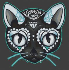 Cat Cross Stitch Kit By Miss Cherry Martini Day of by GeckoRouge, $72.00