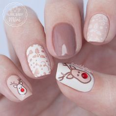 rudolph with red nose | christmas nail art | short gel polish | brown | winter color combo