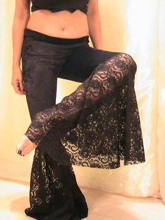 ATS, Tribal, Festival and Flamenco Flare Pants in Black Velvet and Lace- SM-MED