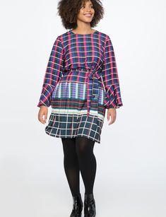 76b98aa28ce90 Printed Flare Sleeve Easy Dress Wangari Splice Easy Dress