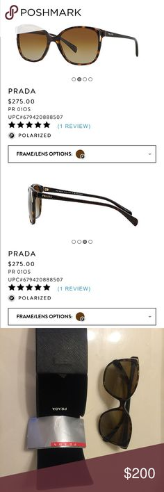 polarized Prada sunglasses Descriptions see the last pic. Wore once. In perfect condition. Bought from sunglasses hut275$+tax around $300. With original case, cloth, and certificate of authenticity Prada Accessories Sunglasses