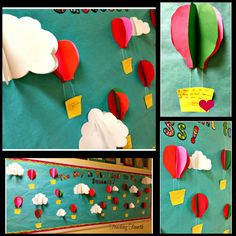 Hot Air Balloon Bulletin Board. Cute bulletin board idea for student motivation. Students also wrote haiku poems on each basket about reaching goals and success.