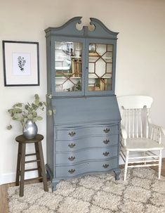 Antique Secretary Desk with Hutch - Home Office Furniture - Antique Secretary Desks, Secretary Desk With Hutch, Desk Hutch, Desk Makeover, Furniture Makeover, Vanity Table Vintage, Annie Sloan Painted Furniture, Home Office Furniture, Rum