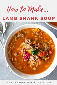 Ahearty, healthy and cozy winter lamb shank soup! Bring the flavours of Morocco to your own home with this super simple, yet exquisite lamb soup. Chilli Recipes, Best Soup Recipes, Healthy Soup Recipes, Vegan Recipes Easy, Healthy Food, Recipes Using Lamb, Lamb Recipes, Easy Family Meals, Easy Weeknight Meals