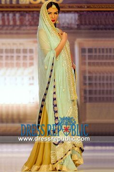 Aquamarine Embroidered Wedding Lehenga In Chiffon By Nomi Ansari