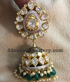 Diamond Jhumkas with Emerald Drops - Jewellery Designs