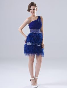 Royal Blue Sheath One-Shoulder Feather Chiffon Homecoming Dress. See More One Shoulder at http://www.ourgreatshop.com/One-Shoulder-C975.aspx